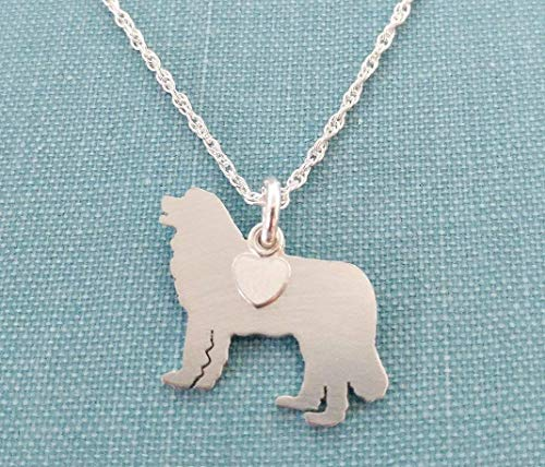 Leonburger .925 Sterling Silver Dog charm Necklace Pet memorial silhouette Personalize Monogram ()