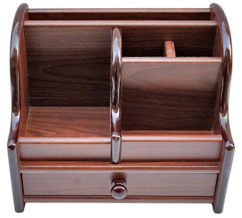 Latiq Mart Polished Wooden Pen Stand Big Size with Drawer, Mobile Holder & Remote Stand for Office Desk, Table…