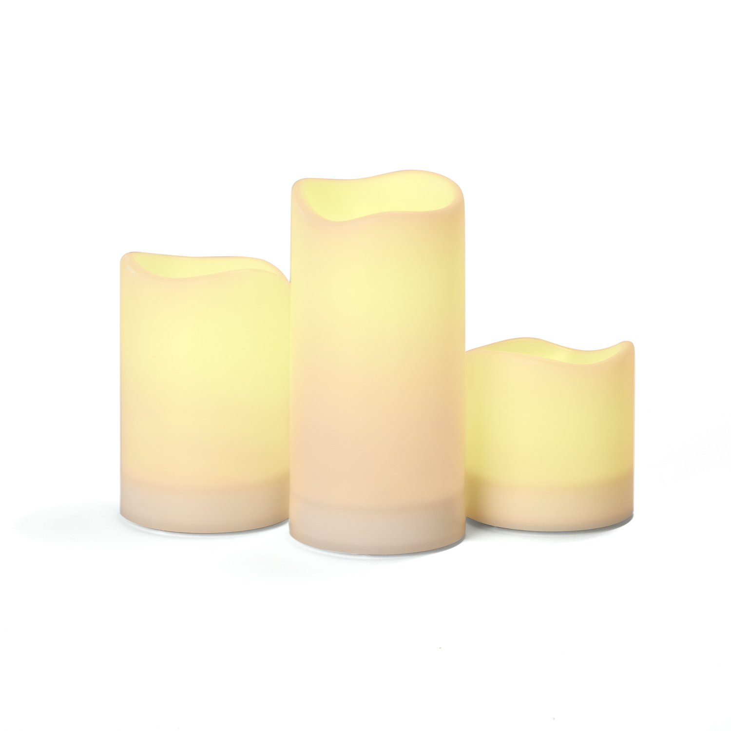 Ivory Solar Flameless Pillar Candles, Rechargeable, Warm White LEDs, Outdoor Use, Batteries Included - Set of 3