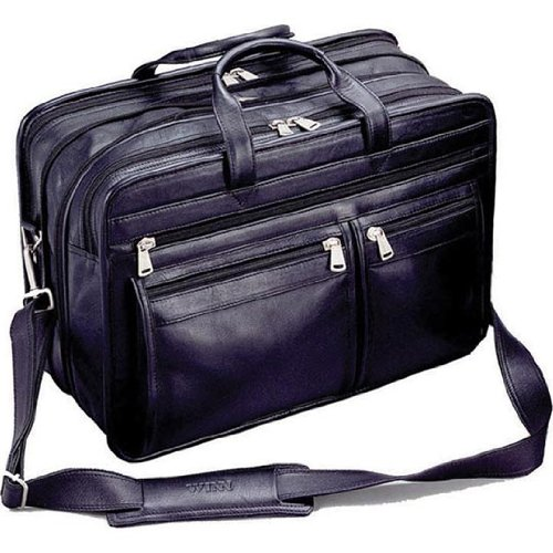 Winn Harness Leather Expandable Brief with Accordion File, (Expandable Leather Laptop Brief)