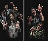 WOWindow Posters Zombie Asylum Halloween Window Decoration, Includes Two 3 by 5-Inch Posters