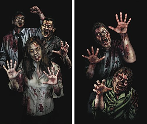 - Window Poster Halloween Zombie Asylum by WOWindows USA-made Decoration Includes 2 Reusable 34.5