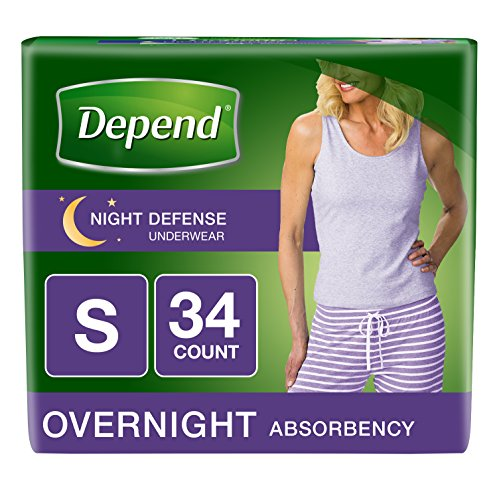 (Depend Night Defense Incontinence Overnight Underwear for Women, Small, 34 Count (Packaging may vary))