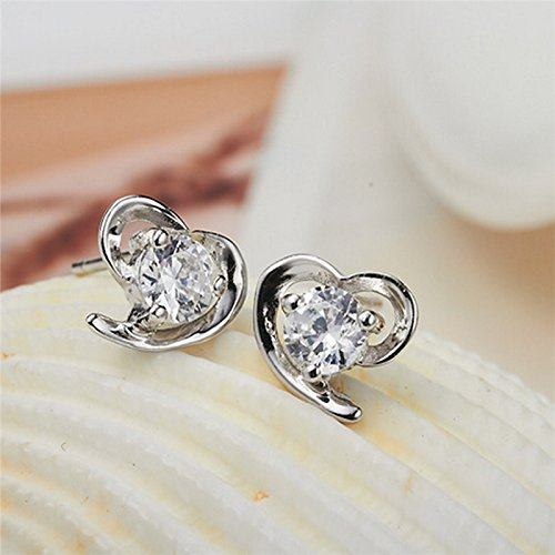 Alvade Love Purple zircon Earrings, Elegant Silver-Plated Stud Earrings Girl Jewelry by Alvade (Image #4)