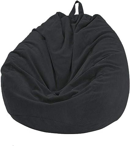 ,Nero,70x80cm Fodere da Divano Copertura per Poltrona a Sacco in Tessuto di Velluto a Coste Copripoltrona a Sacco per Adulti e Bambini Senza Imbottitura
