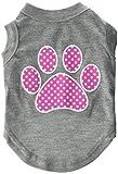 Mirage Pet Products Pink Swiss Dot Paw Screen Print Shirt, Small, Grey