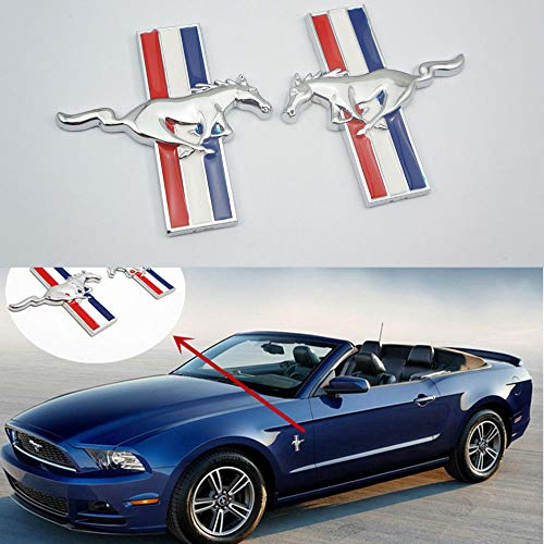 (2pcs Running Horse Emblem Door Fender Badge Sticker Chrome for Ford Mustang)