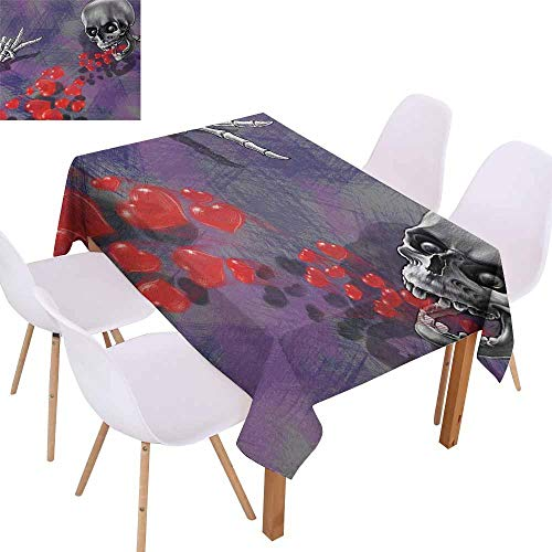 UHOO2018 Skull,Everyday Kitchen Tablecloth,Skeleton in Love Throw Out Puke of Hearts Romantic Gesture Valentines Art,for Wedding/Banquet/Restaurant,Grey Red and -