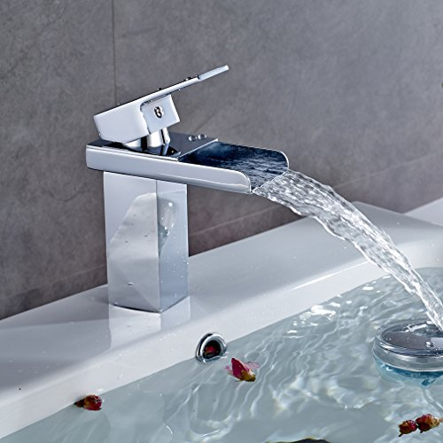 color changing led waterfall gold finish bathroom sink faucet. Black Bedroom Furniture Sets. Home Design Ideas