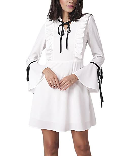 Mujer Vestidos De Fiesta Cortos Blancos Elegantes Primavera Otoño Vestidos Coctel Manga Larga Trompeta Manga Con Volantes Con Lazo Una Línea Vestido Señora ...