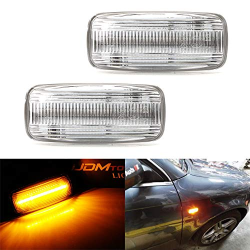 iJDMTOY Clear Lens Amber Full LED Front Fender Turn Signal Side Marker Light Kit For Audi A4 A6 A8 TT, Powered by 21-SMD LED, Replace OEM Sidemarker Lamps ()