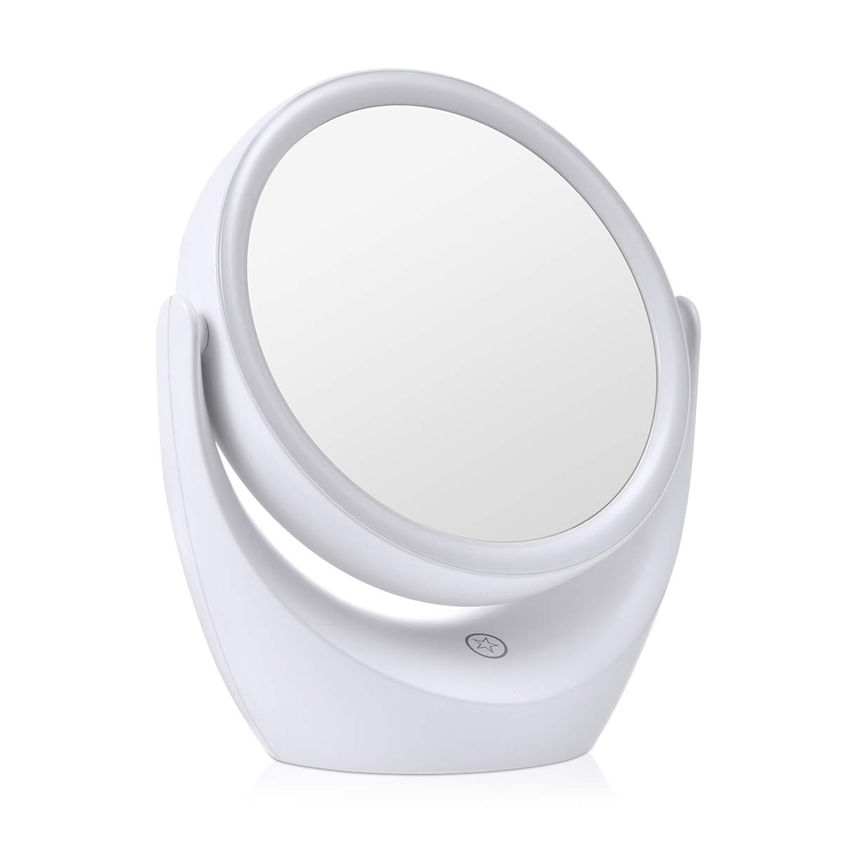 Tememdy LED Lighted Makeup Vanity Mirror Rechargeable, Double Sided Magnifying Makeup Mirror, 1x 5x Magnification 360 Degree Swivel with Dimmable Touch Screen