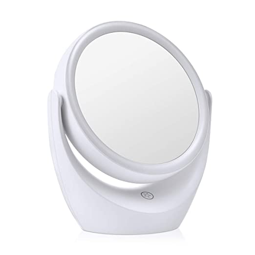 Tememdy LED Lighted Makeup Vanity Mirror Rechargeable, Double Sided Magnifying Makeup Mirror, 1x/5x Magnification 360 Degree Swivel with Dimmable Touch Screen