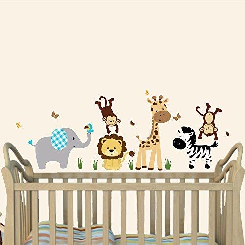 Mini Silver Mist Jungle Animal Wall Decals, Jungle Stickers, Elephant, Lion, Giraffe, Monkey ()