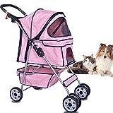 Dkeli 4 Wheels Pet Stroller Cat Dog Cage Stroller Travel Folding Carrier 2 Color (Pink)