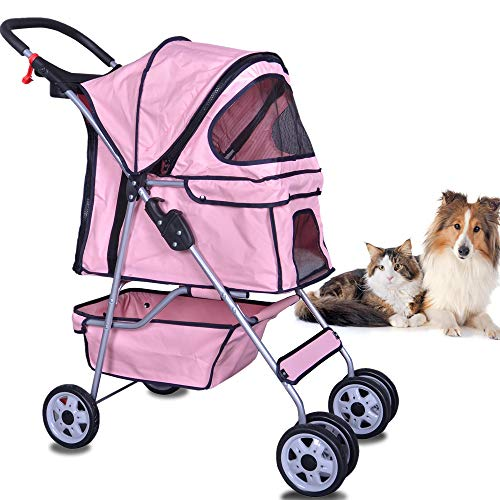 Dkeli 4 Wheels Pet Stroller Cat Dog Cage Stroller Travel Folding Carrier 2 Color (Pink)