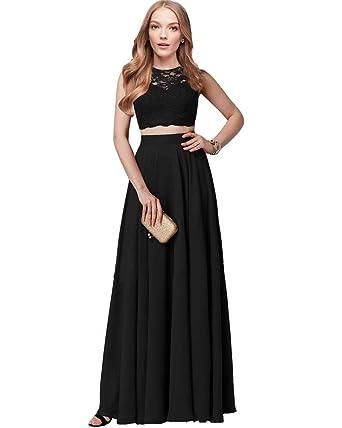 ad437bd4eede Lily Wedding Womens 2 Piece Prom Dresses Long Aline Lace Chiffon Bridesmaid Evening  Dress Sleeveless Size