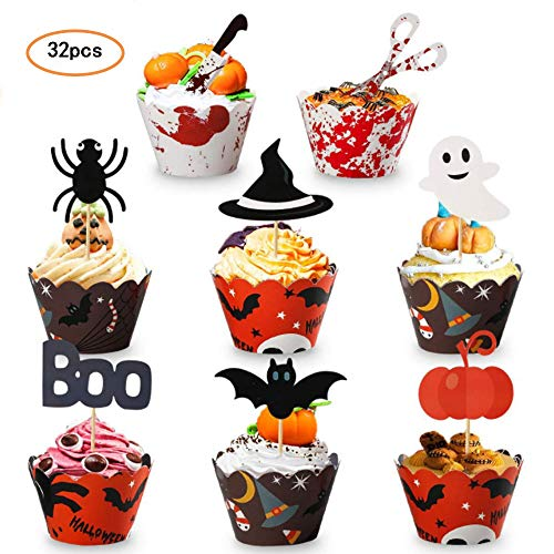 32 Pieces Halloween Cake Picks Cupcake Toppers Wrappers Cupcake With Pumpkin Boo Scissors Spider Witch's Hat and Bat for Halloween Party Cake Dessert Decorations -