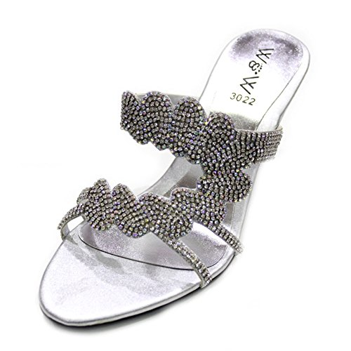 antidérapant talon de sandales Mesdames Jeri W W sur Diamante mariée compensé chaussures mariage amp; Silver soirée Taille femmes zw6168Y