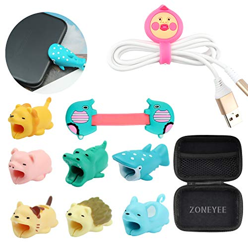 Animal Bite Cable Protector,11Pcs for Cable Bite Protecter, Cute Animal Cable Protect Saver Compatible for Phone Cable Bite Cord Data Line Protector Cell Phone Accessories