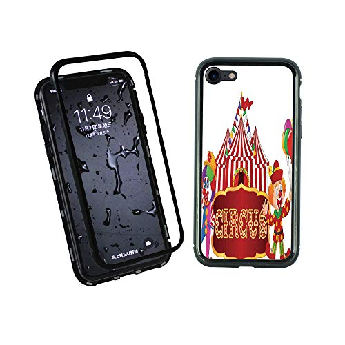 Advertisement Metal (Phone case Compatible with iPhone7 iPhone8 Ultra Slim Magnet Protective Case Metal Frame,Clown Advertisement Event Man Billboard Waving,Tempered Glass Back [Magnetic Adsorption Technology]Black Frame)