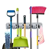 TRADERPLUS Rake Mop Broom Holder, 5 Position with 6 Hooks Garden Tool Organizer Wall Mounted Holds up to 11 Tools for Home Office Kitchen and Garage