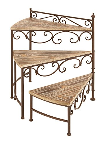 Deco 79 66552 Metal/Wood Rotating Stair Step Planter Stand, 22 by 26-Inch