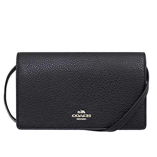 Coach Foldover Clutch Wallet Pebbled Leather Crossbody Bag F30256 (Black)