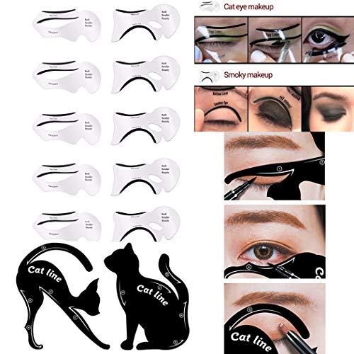 SIPLIV 2 Pcs Eyeliner Stencils and 10 PCS Eyeliner Stencil Cards Eyes Makeup Tool Eye liner Eye Shadow Guide Template Tool