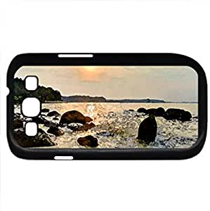 beautiful sunset over bayshore (Beaches Series) Watercolor style - Case Cover For Samsung Galaxy S3 i9300 (Black)