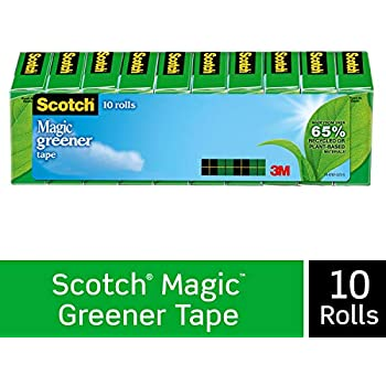 Scotch Magic Greener Tape, Made with Eco-Friendly Material, Invisible, Cuts Cleanly, Engineered for Repairing, 3/4 x 900 Inches, Boxed, 10 Rolls (812-10P)