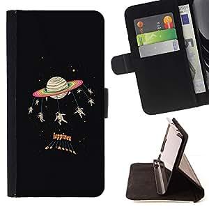 Negro Cosmos Citar Texto- Modelo colorido cuero de la carpeta del tirón del caso cubierta piel Holster Funda protecció Para Apple iPhone 5 / iPhone 5S