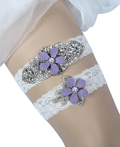 MerryJuly Wedding Lace Garter Set Vintage Inspired Rhinestone with Purple Flowers (L(17-21 (Vintage Inspired Wedding Garter)