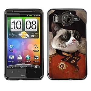 Qstar Arte & diseño plástico duro Fundas Cover Cubre Hard Case Cover para HTC Desire HD / G10 / inspire 4G( Cat Angry Face Siamese Pink Nose General Art)