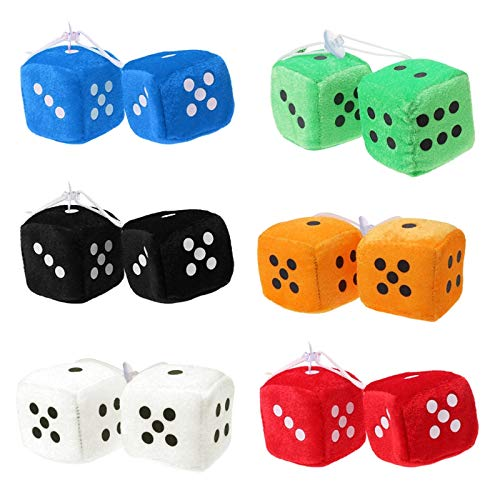 [ Daphot - Store ] - 1 Pair Fuzzy Dice Dots Rear View Mirror Hanger Decoration Car Styling Accessorie