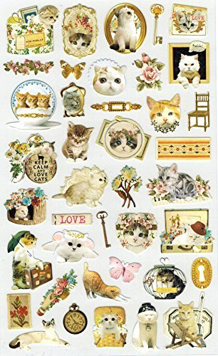 [DECO FAIRY] Photogenic Cute Kitty Kitten Cat Vintage Style Stickers (40 Stickers)