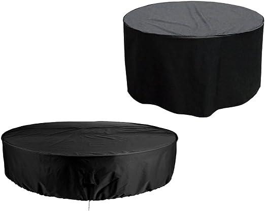 Hzjundasi 185 * 110cm Negro Redondo Mueble Conjunto Funda Protector para Impermeable Al Aire Libre Jardín Patio: Amazon.es: Jardín