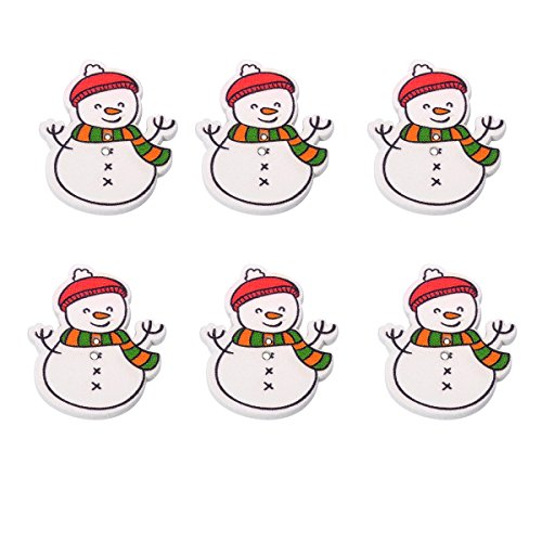 Snowman Sewing - Mixed Christmas Snowman Shaped Wood Sewing Buttons 2-Holes Scrapbooking Craft Set of 30pcs