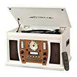 Victrola VTA-750B Nostalgic Aviator 7-in-1 Turntable Wooden Entertainment Center with Bluetooth, White