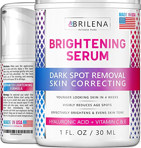 Dark Spot Remover for Face - Brightening Serum with Alpha Arbutin, Hyaluronic Acid & Niacinamide - Made in USA - Melasma & Hyperpigmentation Treatment - Whitens Freckles, Brown, Age & Sun Spots (Best Treatment For Facial Skin Discoloration)