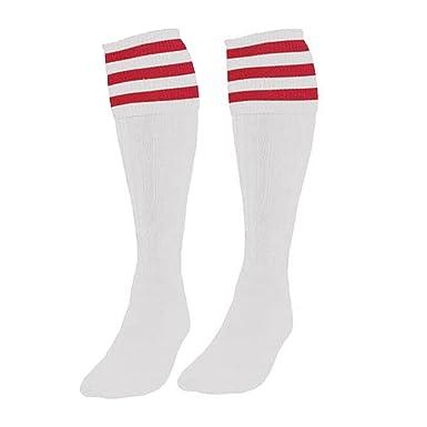 bcf1cc692 Samson Hosiery ® Football Knee High White Red Striped Socks Hockey Rugby  Basketball Gym Stripe Unisex Mens Womens (Large 6-11)  Amazon.co.uk   Clothing