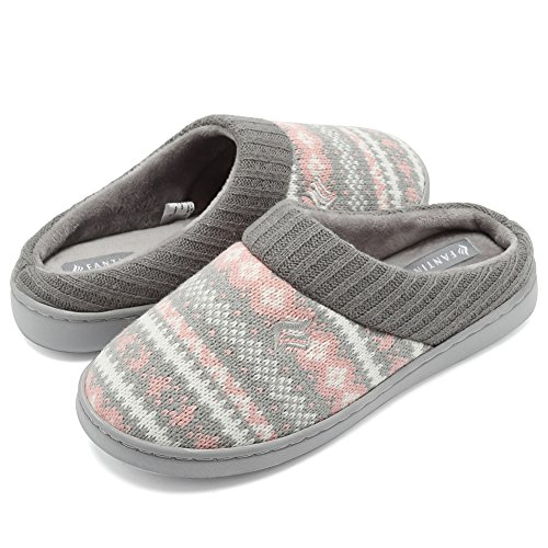 CIOR Fantiny Women's Memory Foam House Slippers Sweater Knit Embroidered Pattern and Ribbed Hand-Knit Collar-U1MTW014-Pink-40-41