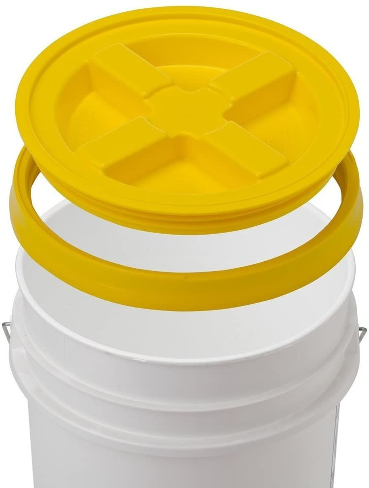 5 Gallon White Bucket & Gamma Seal Lid - Food Grade Plastic Pail & Gamma2 Screw Seal Tight Lid (Yellow)