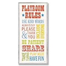 The Kids Room by Stupell Playroom Rules Use Kind Words Rectangle Wall Plaque