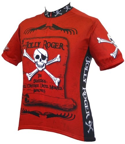 - World Jerseys Men's Jolly Roger Pirate Cycling Jersey, Jolly Roger Pirate, Rust, Large