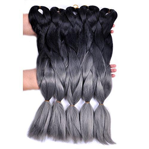 Jumbo Braiding Hair Ombre(Black/Dark Grey) 5pcs/lot Synthetic Jumbo Braid Hair Extension 24