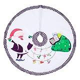 Amosfun Christmas Tree Skirt with Santa Claus Pattern 90cm Xmas Tree Ornaments Home Party Decor