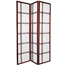 Oriental Furniture Premium Quality, 6-Feet Double Cross Folding Shoji Privacy Floor Screen, 3 Panel Rosewood by Oriental Furniture