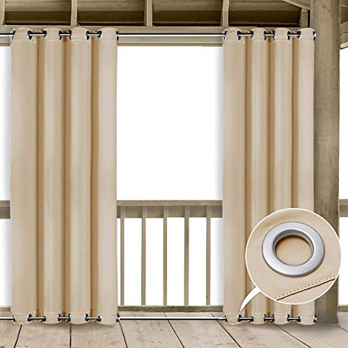 NICETOWN Outdoor Patio Curtains Windproof - Thermal Insulated Room Darkening Curtain Panel with Rust Proof Rings on Top and Bottom (Cream Beige, 52 x 84 Inch, Beige)