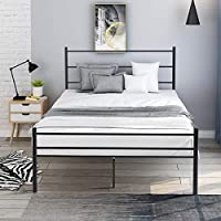 GLCHQ Black Metal Platform Bed Frame with Headboard and Footboard Full Size 10 Legs Mattress Foundation- no Box Spring Needed, for Adults Kids Teens Children